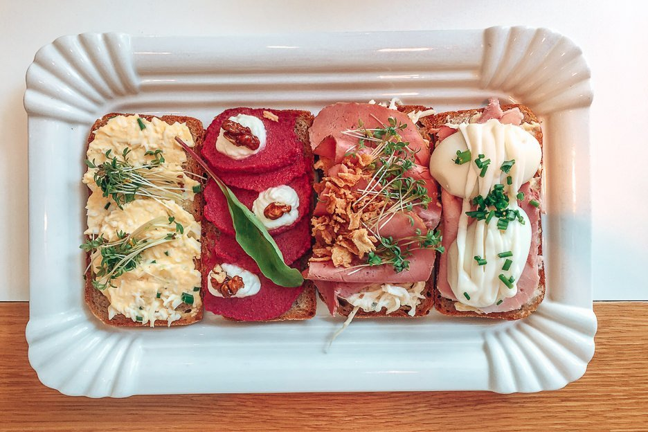 Open top sandwiches at Sisters Bistro, Prague City Guide