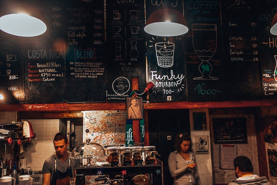 Coffee counter at Tamp & Pull Espresso Bar, Budapest Hungary