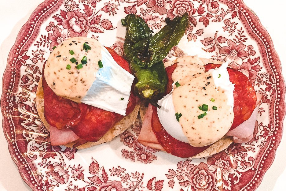 Eggs benedict with spicy salami at G's Jordaan, Amsterdam