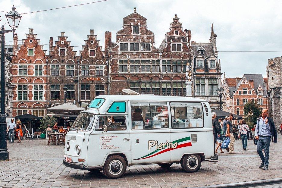 An ice-cream truck in Sint Veerleplein, Ghent Belgium