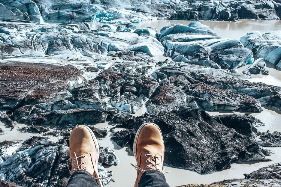 Shoes hanging out over the edge - Vatnajökull, Iceland