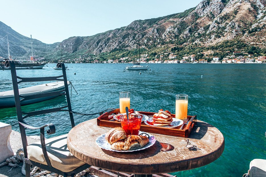 Breakfast with a view in Kotor, Montenegro