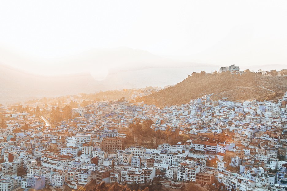 Golden hour sunset over Chefchaouen, Morocco