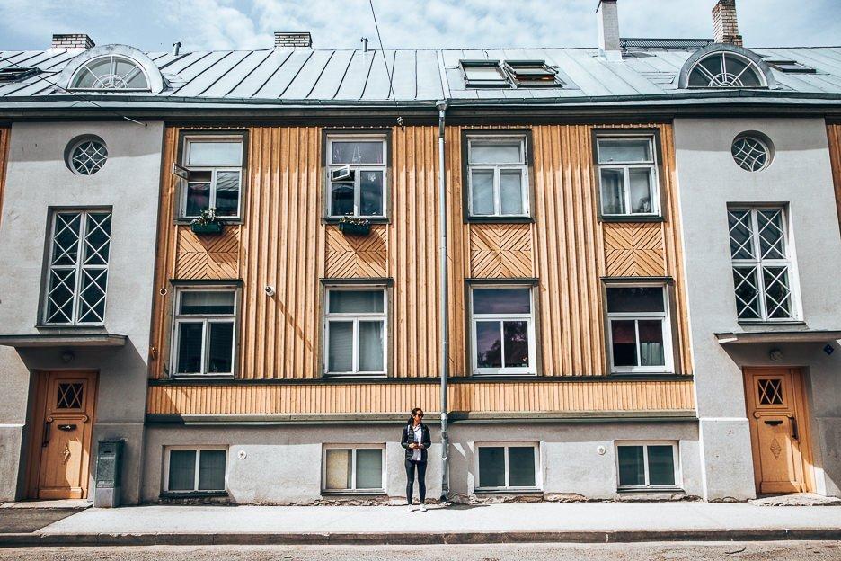Admiring architectural facades in Tallinn, Estonia