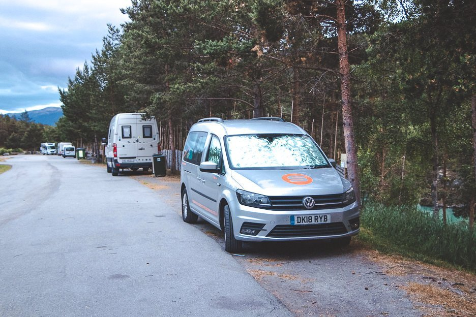 Meteor campervan by Spaceship Rentals parked for the night in Sweden