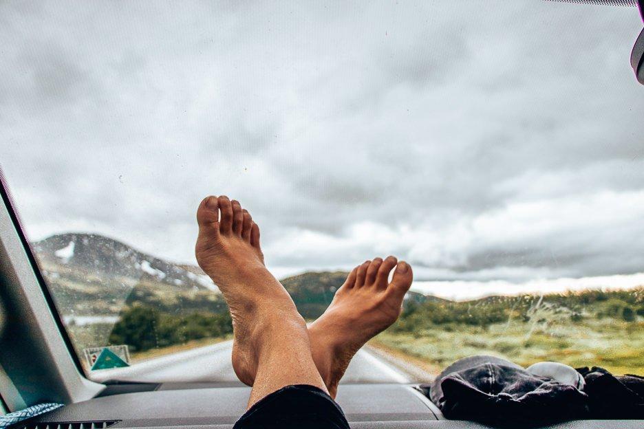 Feet up on the dashboard, van life