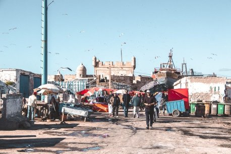 Local men setting up the fish market stalls in Essaouira, Morocco