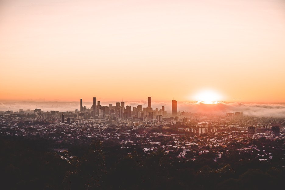Foggy sunrise over Brisbane from Mt Coot-tha Lookout