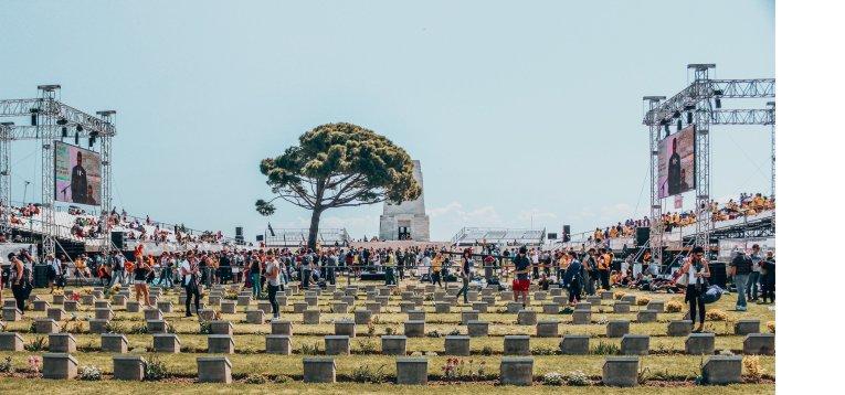 Visitors observe the graves at Gallipoli, Turkey