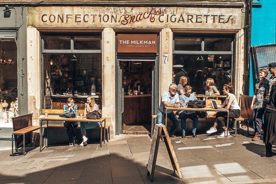 Customers sitting outside the Milkman - Coffee in Edinburgh