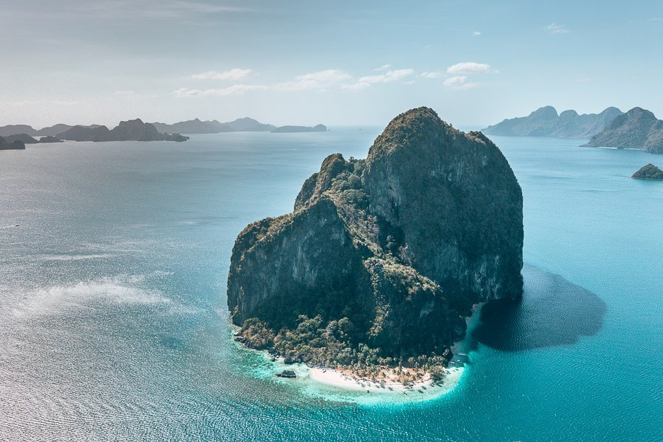 An aerial view of Pinagbuyutan Island in El Nido, The Philippines