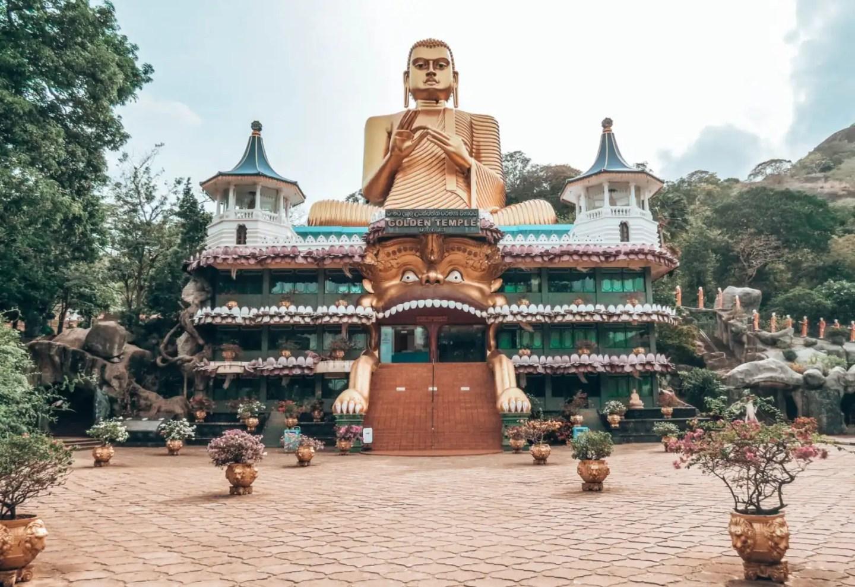 Giant Buddha statue outside the Dambulla Cave complex