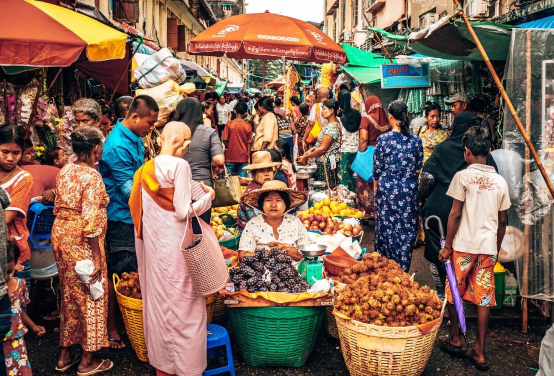 Downtown Yangon market