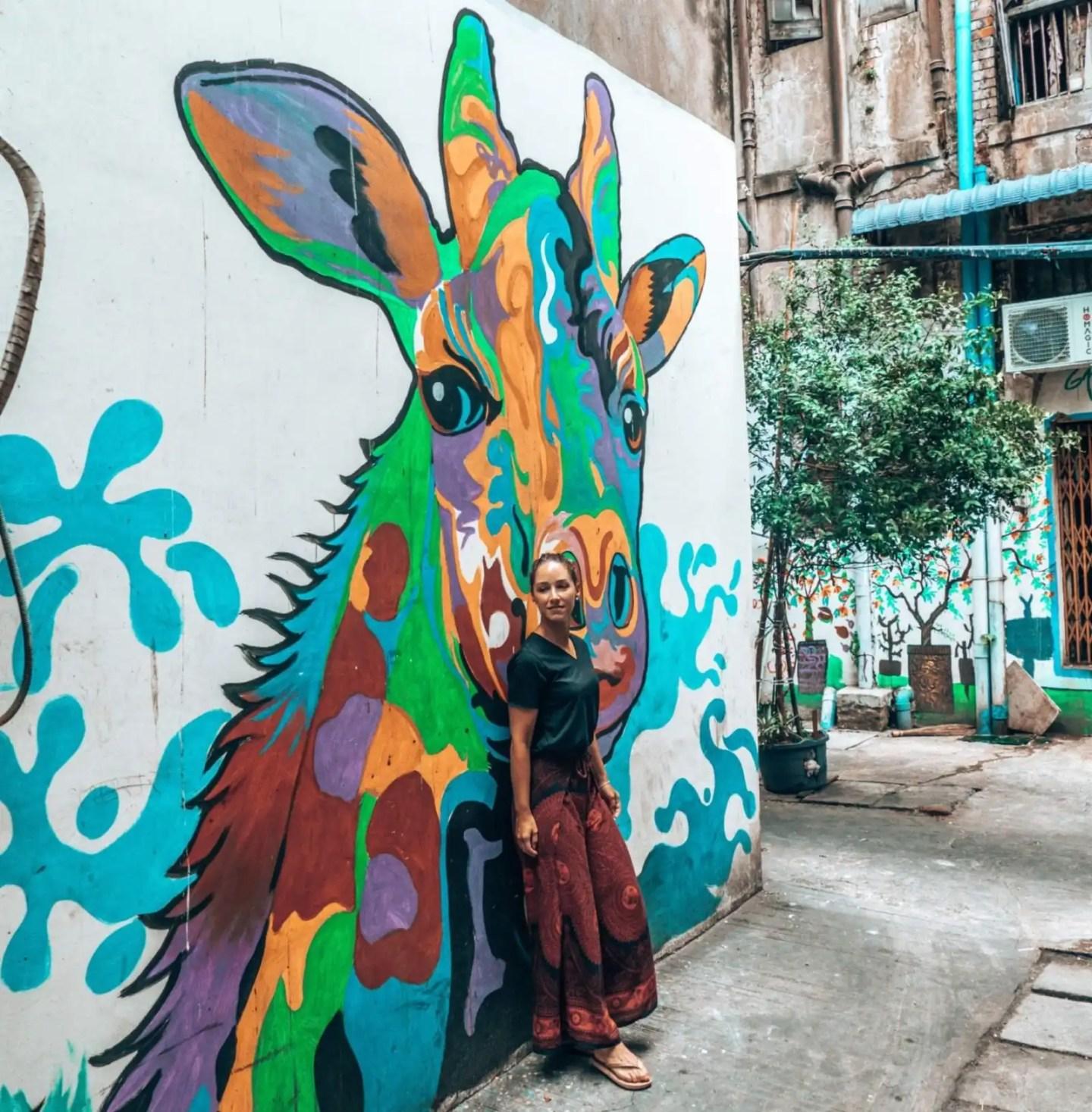 Yangon Street Art Giraffe and Lee