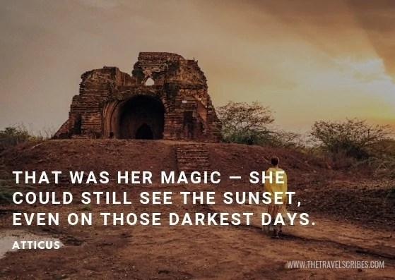 Image of sunset quote by Atticus