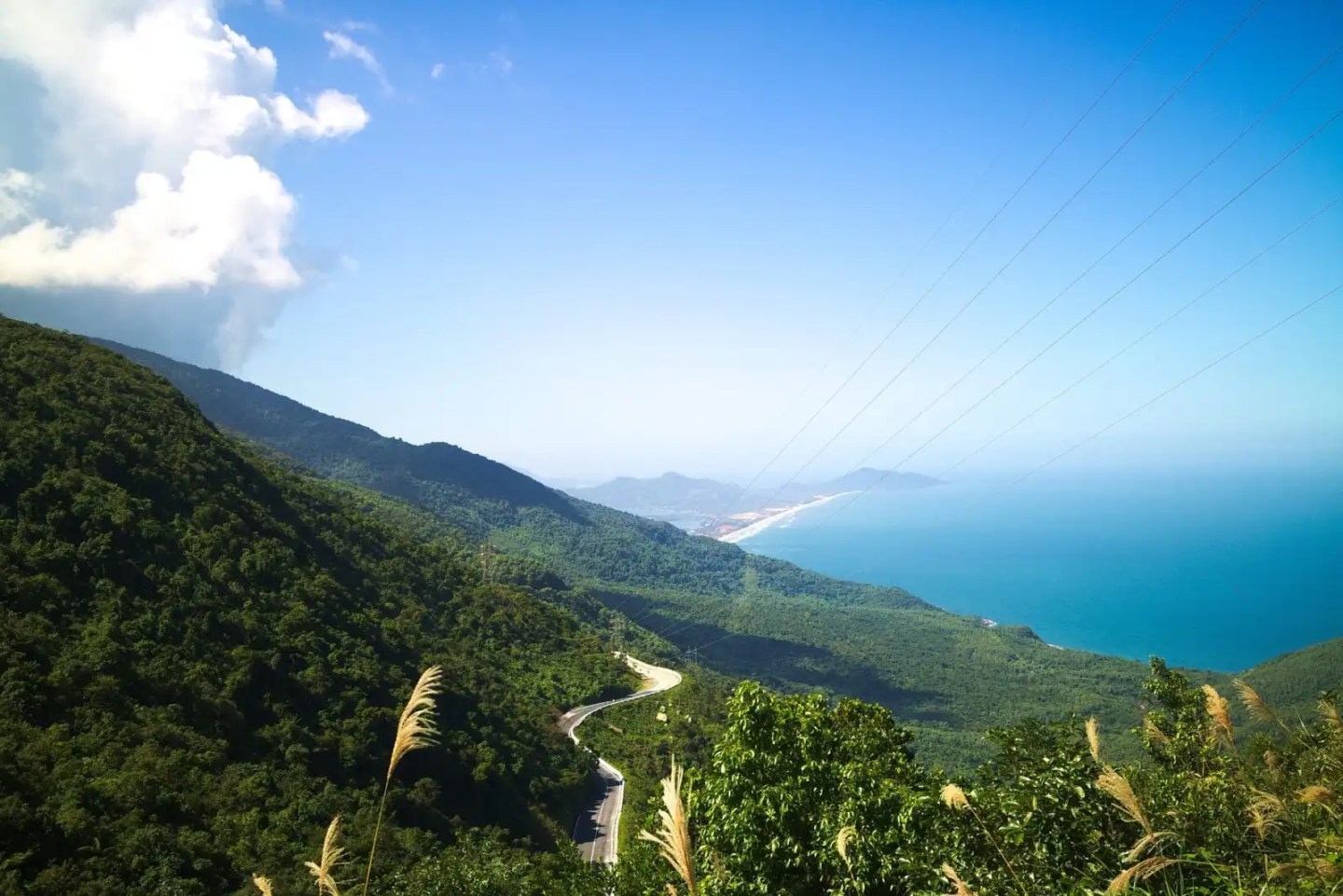 Hai Van pass aerial shot, greatest ocean road Hue to Hoi An
