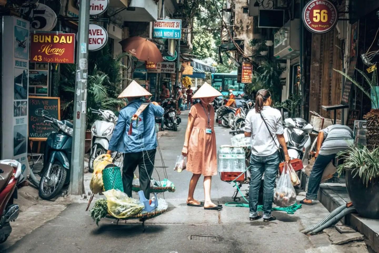 People walking around Hanoi Old Quarter