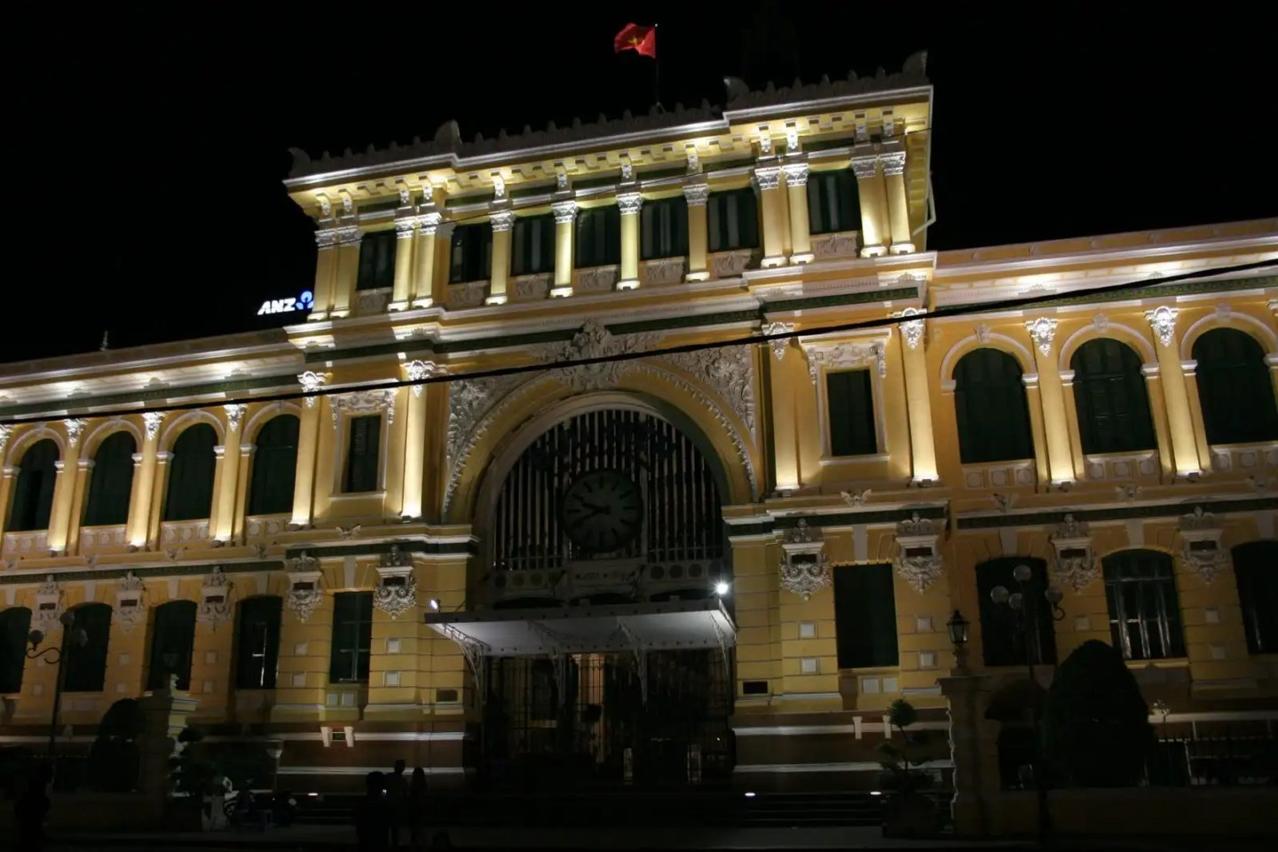 Saigon Main Post Office at night, Vietnam