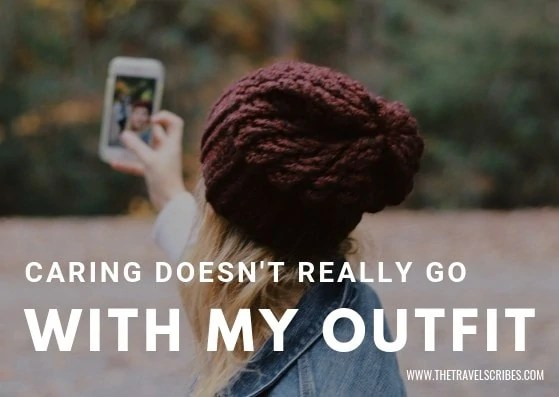 Cute captions for pictures of yourself - Graphic for Caring doesnt really go with my outfit
