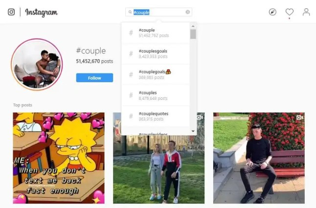 Screenshot of Instagram Search for couple