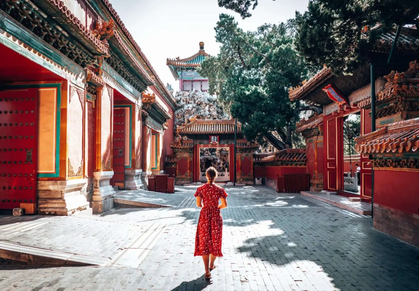 Picture of girl in a courtyard of the Forbidden City in Beijing, China