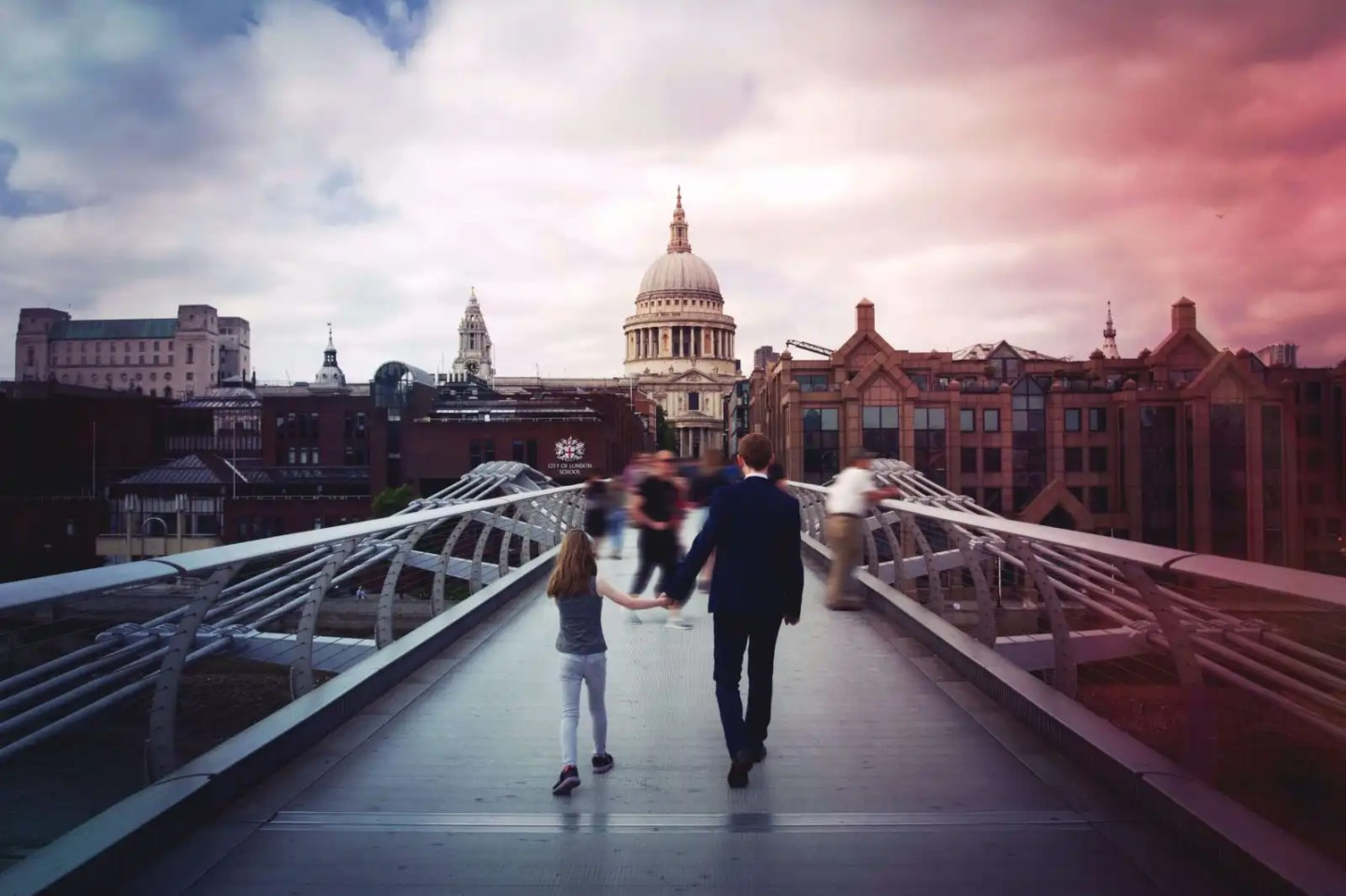 The Millennium bridge to St Pauls Cathedral in London, UK