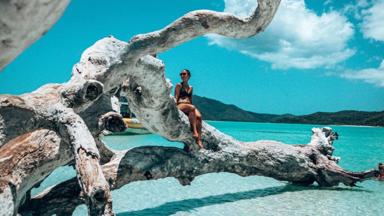 Posing at Whitehaven beach