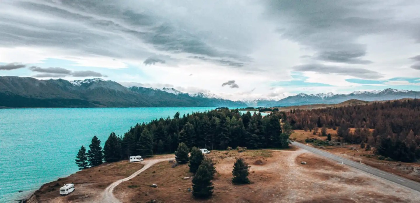 Camping at Lake Pukaki drone