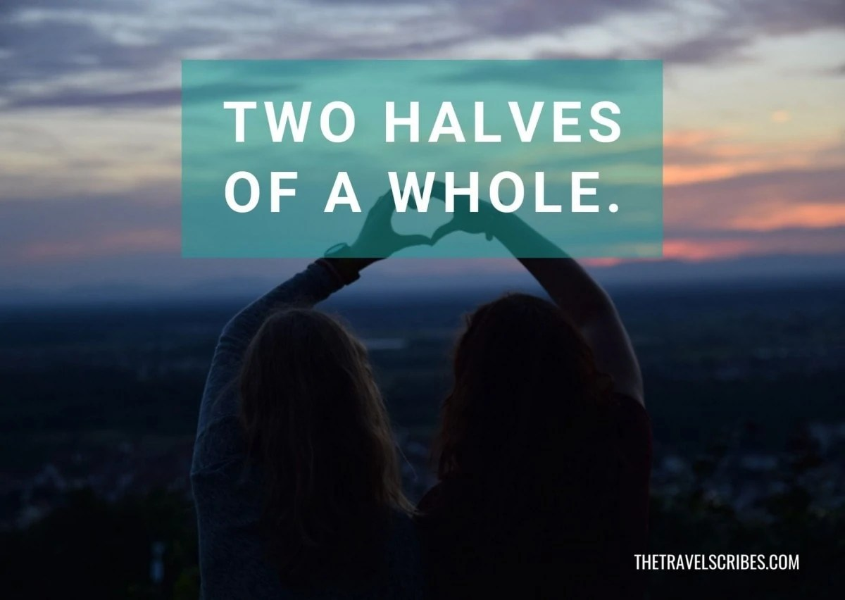 Best caption for friends - Two halves of a whole