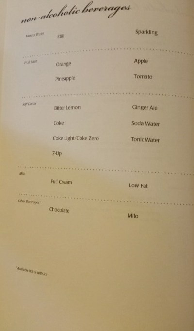 singapore airlines business class 777 menu