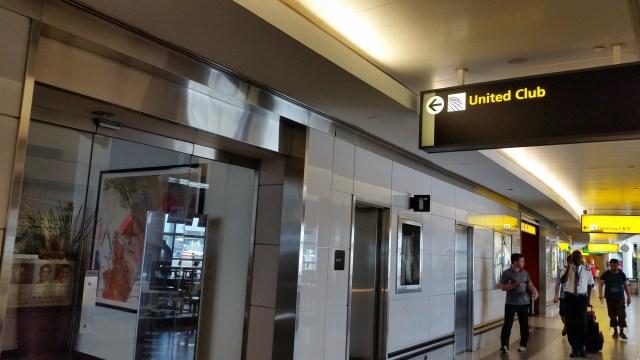 united club laguardia airport Concourse C outside corridor