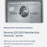 Amex Platinum 100K: Great Sign Up Bonus!