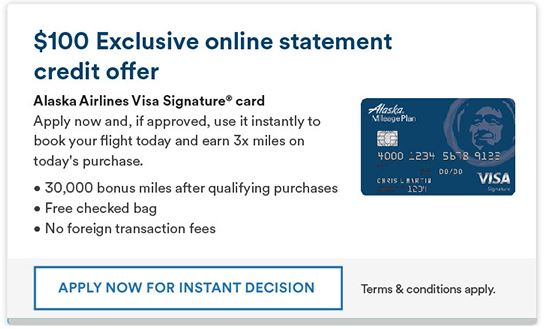 Alaska Airlines Credit Card 30,000 Miles + $100 Statement Credit Signup Bonus