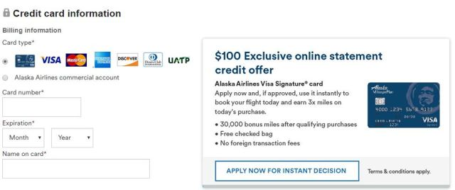 bank of america alaska airlines credit card 31K 30000 miles 100 statement credit