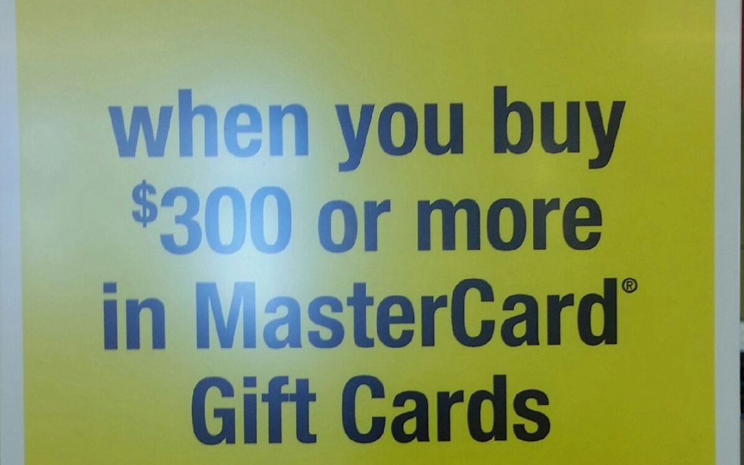 $15 Instant Discount Off $300 Purchase of MasterCard Gift Cards at OfficeMax/Office Depot This Week!