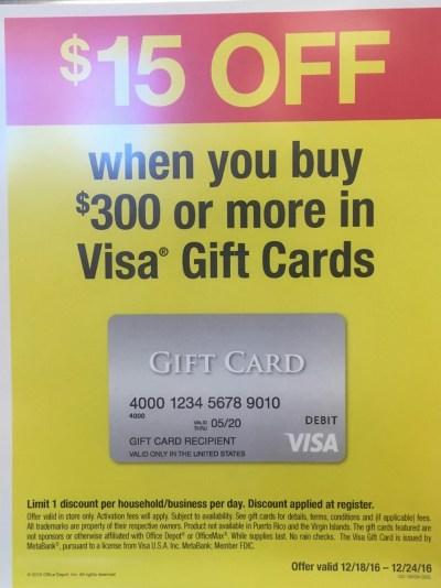 instant discount visa gift card office depot december 2016