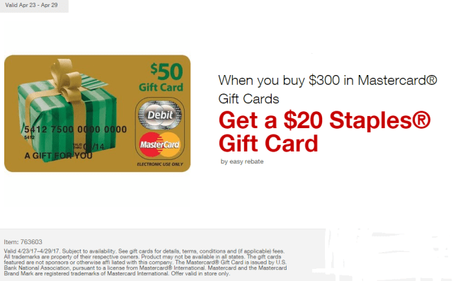 staples easy rebates mastercard april 2017