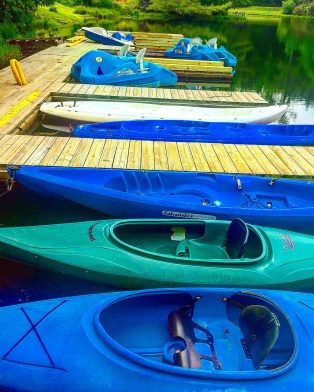Kayaks are available at the boat house to take out on the lake at High Hampton Inn.