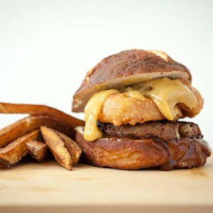 Onion Ring Burger with Beer Cheese Sauce using @fieldroast products