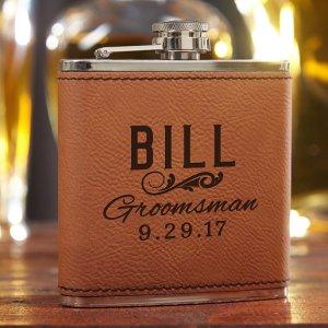 vegan faux leather flask groomsman