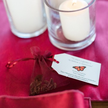 Milkweed seed favors; photo by Meigan Canfield