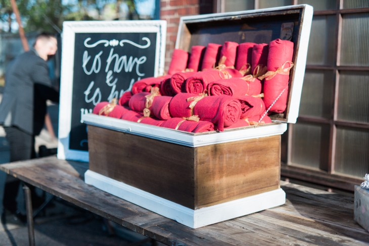 wedding blankets keep guests warm and donate to shelters