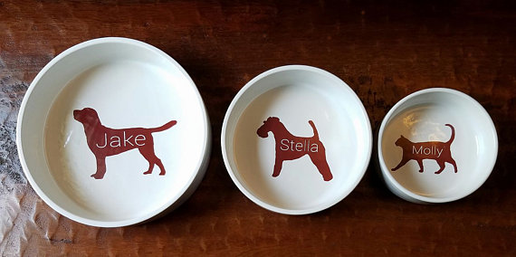 Custom pet bowls etsy ceramic dog cat silhouette