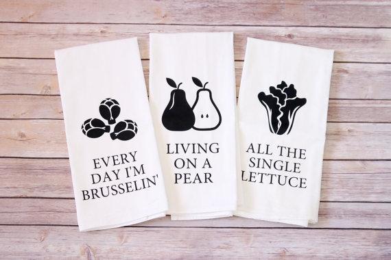 vegan veggie kitchen tea towels puns etsy