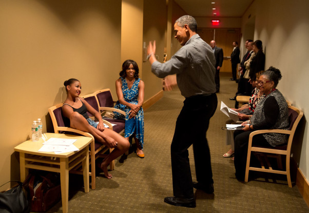 "June 16, 2013 ""The President shows off his dance moves as he and the First Lady waited backstage during an intermission of daughter Sasha's dance recital at Strathmore Arts Center in North Bethesda, Maryland.""  (Official White House Photo by Pete Souza)"