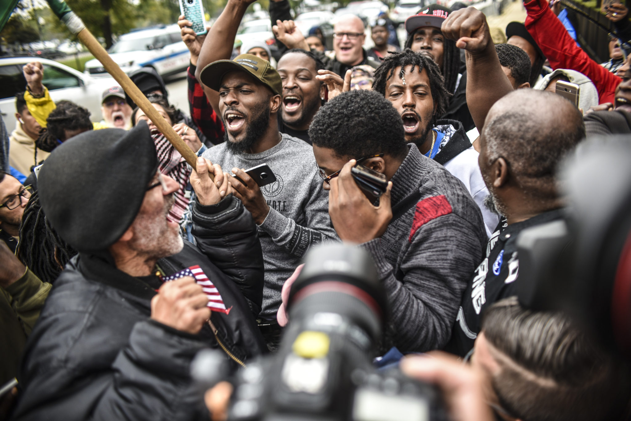 The scene outside the Criminal Court building after the Van Dyke verdict on Oct. 5, 2018