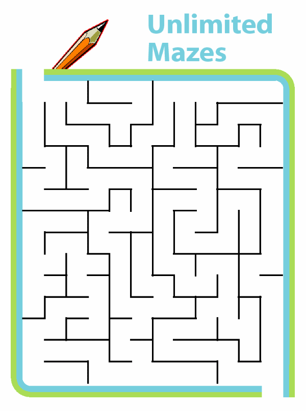 If your child can never get enough mazes, try these printable mazes that are generated automatically at all skill levels. Unlimited mazes!