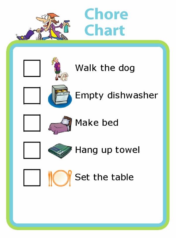 Chore Chart Picture Checklist