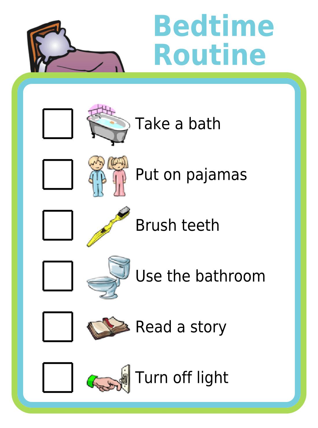 Free Printable Bedtime Routine
