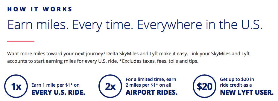 Terms for linking Delta Skymiles and Lyft accounts.